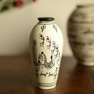 ExclusiveLane Handpainted with Warli Art Round Shaped Terracotta Vase