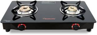 Butterfly Rapid 2 Burner Glass Manual Gas Stove