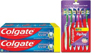 Colgate Anti-Cavity Strong Teeth Toothpaste - 500 gm with ZigZag Toothbrush Medium Medium Toothbrush