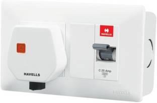 HAVELLS DBOXx MCB Protected Socket PVC Plastic Base Model (White) 13032 MCB