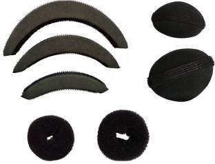 CartKing Hair Style DONUT Perfect BUN- JUDA Maker Tool For Women - Hair Bumpits - Puff/Puffs Maker For Girls-Women (Combo of 7)- Black Hair Accessory Set