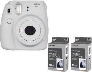 FUJIFILM MINI 9 Smokey White with 2 monochrome film Instant Camera