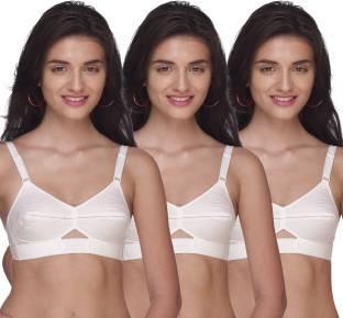 e90b08279 Sona Moving Elastic Strap White Full Cup Plus Size Cotton Bra Pack of 3 Women  Full