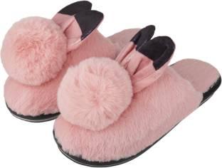 IRSOE Women and Girls Velvet Anti-Slip Soft Bottom Winter Rabbit .