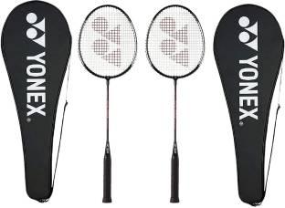 YONEX GR 303 Combo Aluminum Badminton Racquet with Full Cover, Set of 2 (Black) Black Strung Badminton Racquet