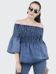 BuyNewTrendCasual 3/4 Sleeve Solid Women Blue Top