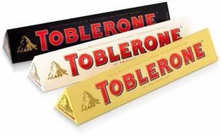 toblerone SWITZERLAND CHOCOLATE Combo Variety of 3 Milk, White and Dark (100 G X3) Bars