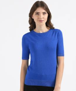 c50a1aea768 Madame Solid Round Neck Casual Women Blue Sweater - Buy Navy Madame ...