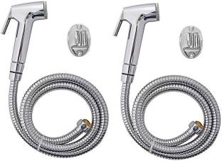 ANMEX Latest Design Rich Look Continental Health faucet (abs) with 1mtr flexible SS Tube and Wall Hook...
