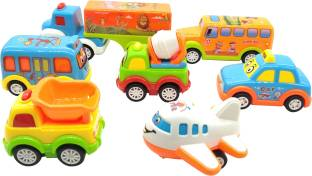 EMOB Pack of 7 Mini Cute Pull Back and Go Friction Powered Fun Autos Vehicles Toys for Kids