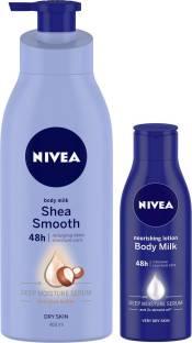 NIVEA Smooth Milk Body Lotion 400ml with Nourishing Body Milk 120ml