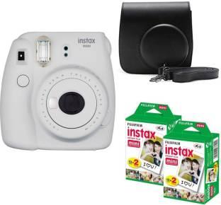 FUJIFILM Mini 9 Smokey White With Black Case 40 Shots Instant Camera