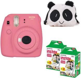 FUJIFILM Mini 9 Flamingo Pink with panda Case and 40 Shots Instant Camera