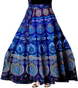 845679117 Fashiana Animal Print Women's Wrap Around Blue, Brown Skirt - Buy ...