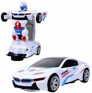 MS Amaze Robot Transformer Car 2-In-1 Robot to Car Converting with light & Music for kids (White)