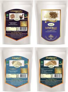 biotic Safed Musli, Ashwagandha, Shatavari, Kaunch Seed Powder - Combo 100 g Each