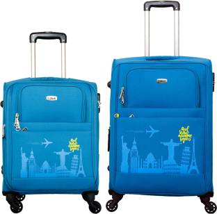 81be2cb31 SALSA Ocean Blue 55 & 65 CM 4 Wheel Trolley Suitcase For Travel Set of 2