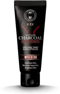 eXx Activated Charcoal face Scrub with DeTan & Eucalyptus essential oil, 100 gm Scrub