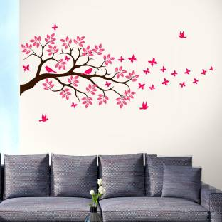 New Way Decals Wall Sticker Large (75155) black branch with pink leaves and birds