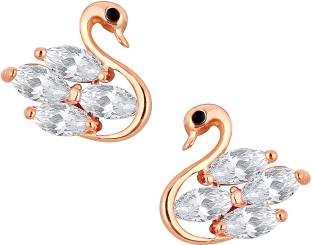 ae6cd33c2 Alamod Alamod Brass Metal Cubic Zirconia Stone Swan Shaped Stud Earring For  Women Cubic Zirconia Brass