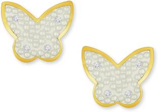 8304e66b2 Alamod Alamod Butterfly Shaped Alloy Metal Gold Plated Tops Earring for  women Diamond Alloy Stud Earring