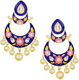 1797dfb90 Alamod Alamod Multicolor Meenakari Kundan & Pearl Chand Bali Earring For  Women Pearl Alloy Chandbali Earring