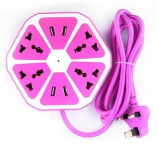 blue seed Socket Extension Board with 4 USB 2.0Amp Charging Point Supports UK US Type Plugs and 15 amp Plugs 6 Socket Surge Protector (Pink) 4  Socket Extension Boards