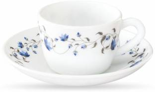 BOROSIL Pack of 12 Glass Helena CUPS SAUCER SET 12 Pcs set