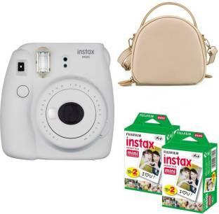 FUJIFILM mini 9 Smokey White with rice white shell bag and 40 Shots Instant Camera