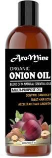 AroMine 100% Pure & Natural ONION Herbal Hair Oil - Blend of 12 Natural Oils for Hair Regrowth, Treat hair loss, Dandruff Control & Thickens hair( 60 ml) Hair Oil (60 ml) Hair Oil