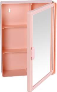 Zahab 10x14 Pink Bathroom Cabinet Plastic Wall Shelf