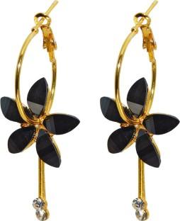 BLACK CRYSTAL HOOP EARRING Hoop Earrings