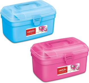 Milton Multipurpose Box Pink Blue Pack of 2   2500 ml Plastic Utility Container