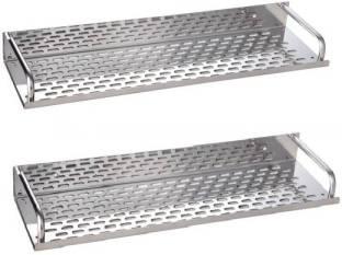 Rishikansh Stainless Steel Shelve Set of 2 pcs (Size :- 16 Inches X 4.5 Inches) Stainless Steel Wall Shelf (Number of Shelves - 2, Silver) Stainless Steel Wall Shelf
