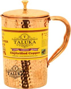 Taluka 1.5 L Water   4  x 9  Inches  Pure Hand Made Best Quality Hammered Copper Jug For Water Drinking 100% Pure Copper Jug Pitcher Capacity 1500 ml
