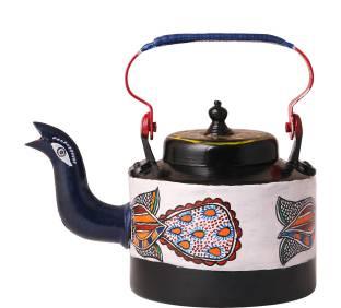 iMithila 2.25 L Kettle Madhubani Folk Art Designer Handpainted Tea/Coffee Kettle with a Beautiful Peacock Jug