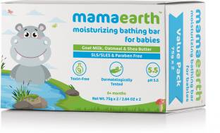 MamaEarth Moisturizing Baby Bathing Soap Bar pH 5.5 with Goat Milk and Oatmeal, 75g (Pack of 2)