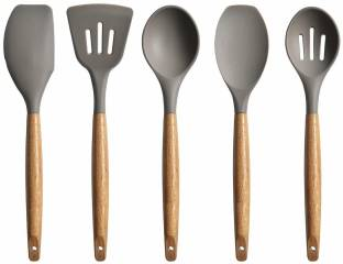 Ramkuwar Silicone Spatula Set 5-Piece - 500ºF Heat-Resistant Baking Spoon Spatula - Seamless One-Piece Design Easy to Clean - Non-Stick Silicone Rubber with Stainless Steel Core Wooden 5A Red Kitchen Tool Set