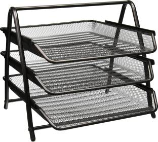 Coinfinitive 3 Compartments Metal Document Tray or Office File Rack,Letter Holder