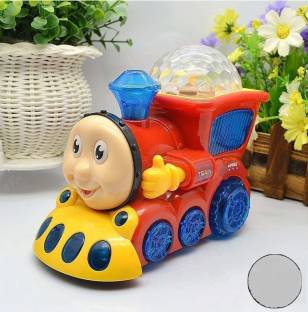 baby kids Bump and Go Musical Engine Train with 4D Light and Sound Toy for Kids (RED)