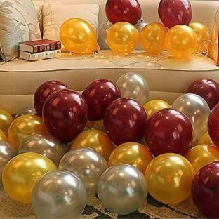PartyballoonsHK Solid Metallic Balloons Brown, Gold & Silver for Birthday , ,Weddings, Engagement, Balloon