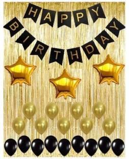 Saikara Black Decoration Kit, Gold Metallic Fringe Shiny Curtains, Happy Birthday Banner with Latex and 3 Star Foil Balloons.