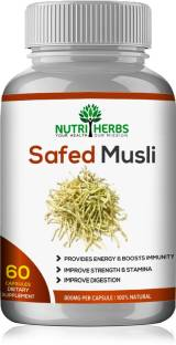 Nutriherbs Safed(Swet)Musli 800 Mg 60 Capsules 100% Natural & Organic (Pack Of 1 )