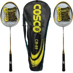 COSCO CB-85 Badminton Rackets Pair (Yellow & Grey) Strung Badminton Racquet Yellow Strung Badminton Ra...