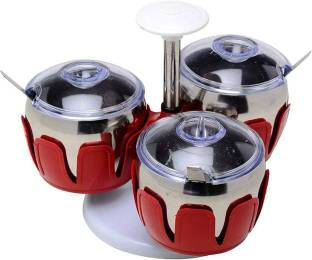 Infinity Ware Stainles Steel Pickle Pot Set   Including 3 Bowls   3 Piece Condiment Set