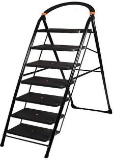 PARASNATH Black Heavy Folding Ladder With Wide Steps Milano 7 Steps 7.3 Ft (1340) Steel Ladder