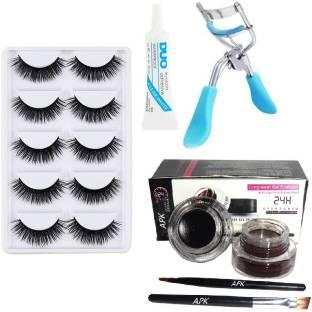 RTB 5 Pair Eyelash, Glue, Curler, Gel Eyeliner Black and Brown pack of 5