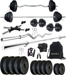 Star X 30 kg PVC Weight Combo of Rods and Accessories Home Gym Combo