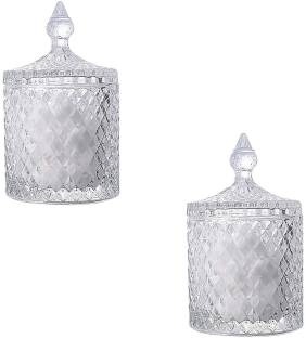 Gifts & Decor Gifts & Decor Crystal Candy Box Candy Dishes with Lids Crystal Weave Candy Box Crystal Glass Covered Sugar Bowl Cookie Jar(Small/Clear)-Pack of 2 Glass Candy Bowl