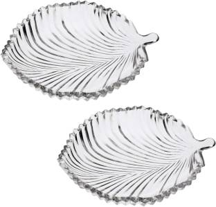 Gifts & Decor Leaf Shape Glass Plate for Dry Fruits,Spices Quarter Plate